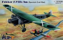 Valom 1/72 Model Kit 72054 Fokker F.VIIb/3m with decals for Spanish Civil War
